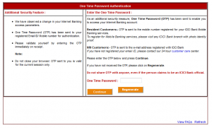 ICICI OTP Screen